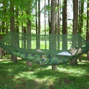 Image 4 - Hamaca de apertura rápida automática para acampar al aire libre, red antimosquitos, defensa Hamak, columpio, 2 personas