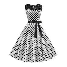 Summer Lace Polka Dot Dresses Elegant 50s Vintage Women Sexy Hollow White A Line Black School Party Retro Chic Rockabilly Dress