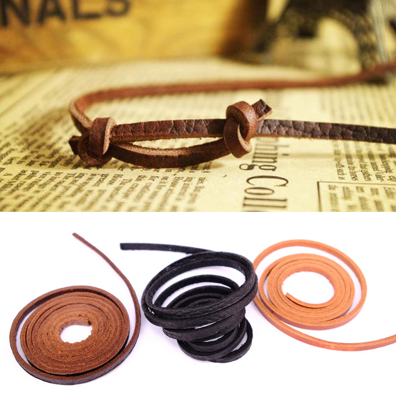 1m Leather Rope Cowhide Cord Strap String Craft Bag Jewelry Bracelet Dog Chain