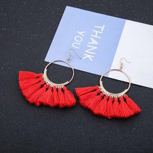 Trendy Drop Earrings Women/Long/Bohemian/Blue/Silk/Balck/Dangle/Metal/Boho/Gold Tassel Earrings 2018 Jewelry CS52(China)