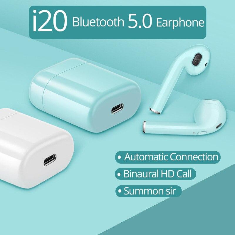 i20 TWS Bluetooth 5.0 earphones i7s wireless headsets with Mic pk i8x i9 i9s i10 i12 i15 i30 i60 earbuds for all phones 2019 new