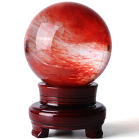 10cm Red Quartz Crystal Ball Healing Stone Gemstone Feng Shui Decorative Ball Home Office Craft Ornament With Wood Holder New