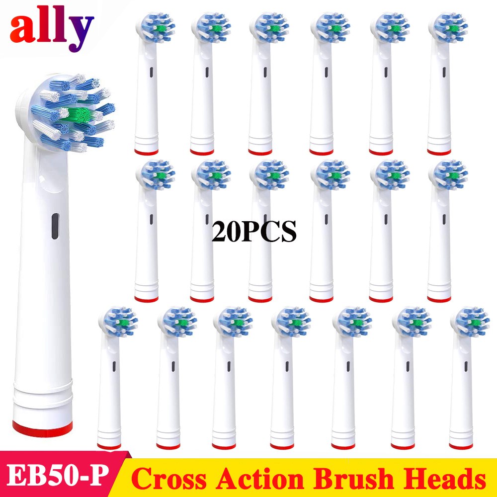 20X EB50 Cross Action toothbrush heads For Braun Oral B Vitality Triumph iBrush 5000 9000 pro690 P4500Electric toothbrush heads image
