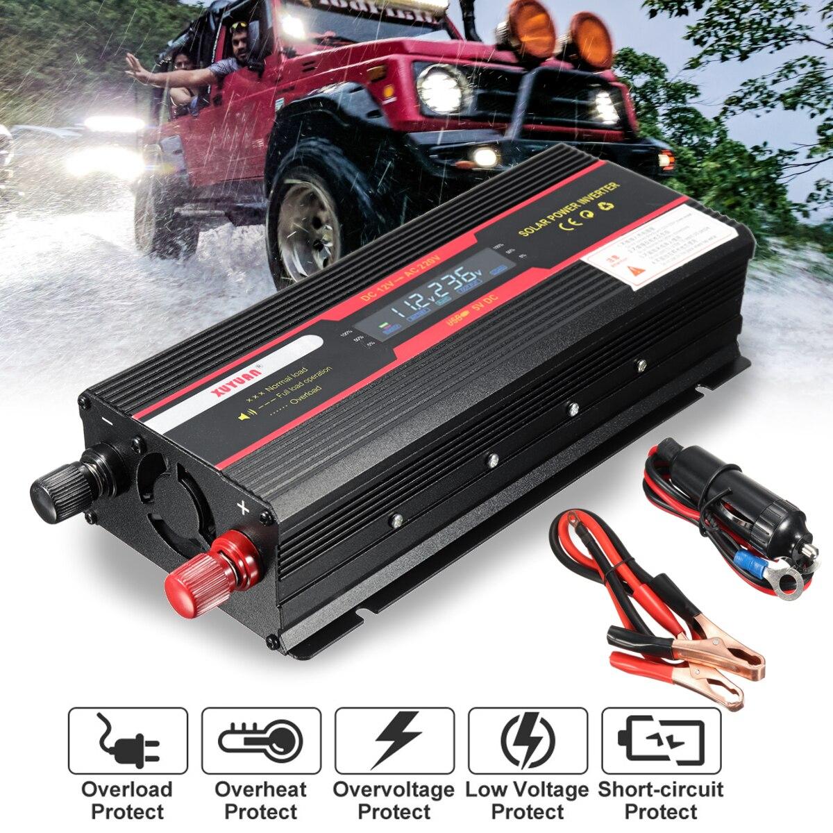 Onduleur de voiture 12 V 220 V 3000 W 4000 W 6000 W P eak onduleur de tension convertisseur transformateur 12 V 220 V Inversor + écran LCD - 2