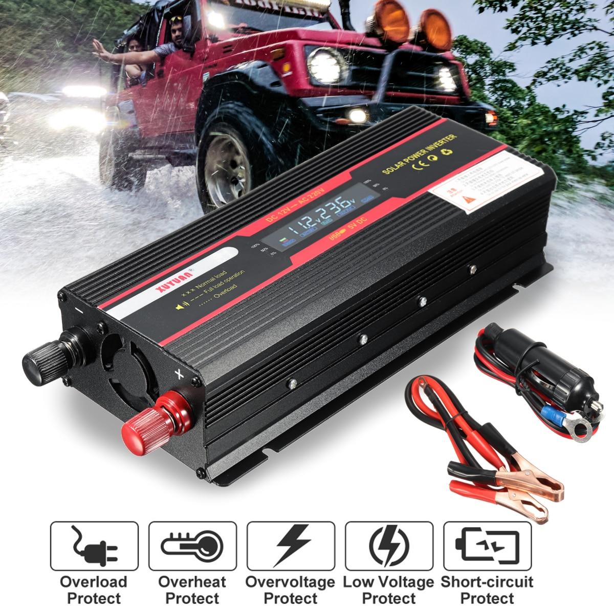 Onduleur de voiture 12V 220V 3000W 4000W 6000W P eak onduleur de tension convertisseur transformateur 12V 220V Inversor + écran LCD - 2