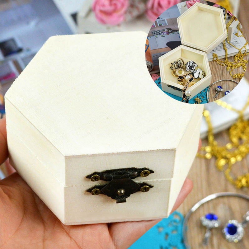 1 pcs Wooden Jewelry box Hexagon/Rectangle Shaped Vintage Multifunction Home Storage Boxes Ring Box Necklace box Handmade Craft