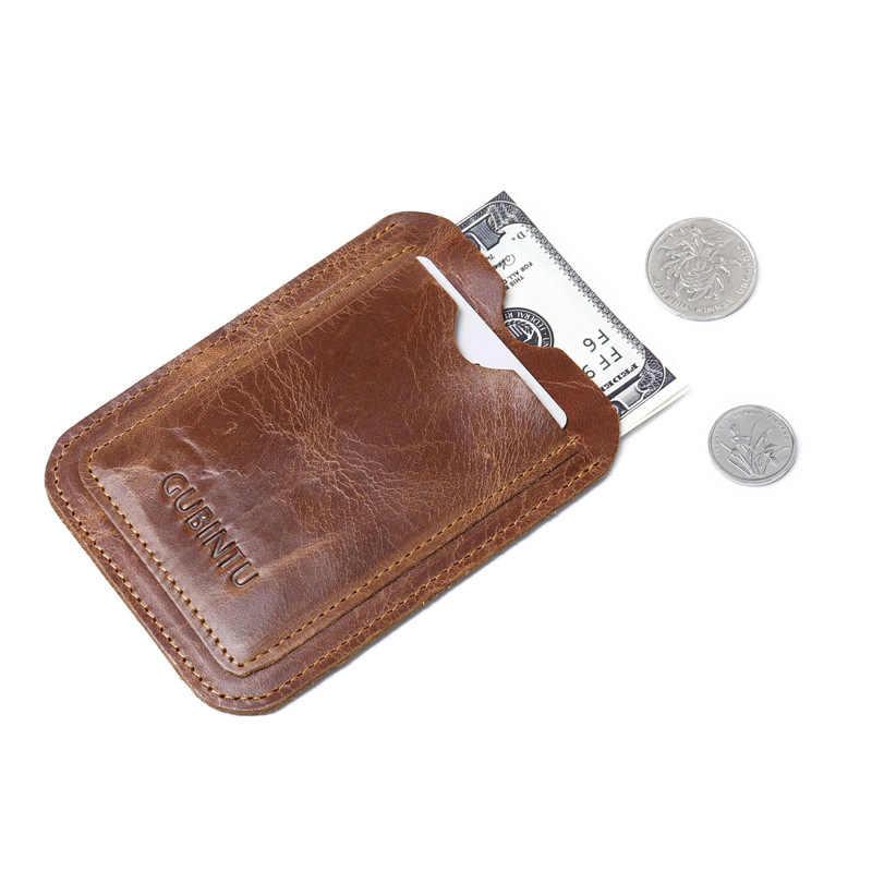 Gubintu Merek Asli Kulit Nyaman ID Saku Kartu Kredit Bank Case Tipis Kartu Dompet Pria Arus Kartu Paket Kartu Bus pemegang