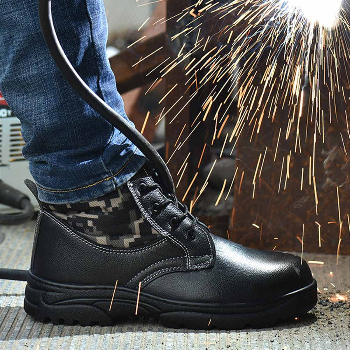 Camouflage Steel Toe Men Work Safety Shoes AtreGo Industrial Safety Workshoes Anti-puncture Anti-smashing Work Boots Hiking Sne