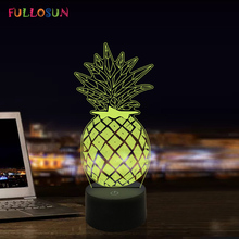 Pineapple LED 3D Illusion Night Lights 7 Color USB Lamp Sleeping Novelty