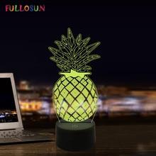 Pineapple LED 3D Illusion Night Lights 7 Color USB Lamp LED Sleeping Novelty Lights funny 3d led little racoon night lamp led usb power table lamp as kids room sleeping lights