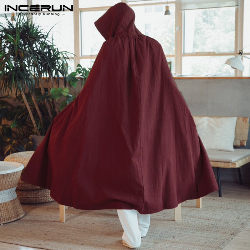 2019 Men Cloak Cape Long Outerwear Hooded Cotton Solid Color Loose Vintage Men Trench Coat Fashion Windbreaker Hombre INCERUN
