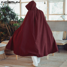 2019 Men Cloak Cape Long Outerwear Hooded Cotton Solid Color Loose Vintage Men Trench