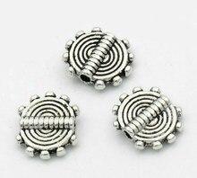 Разделительные бусины DoreenBeads, круглые серебряные Резные бусины в полоску 10x8,5 мм, 100 шт. (B22471), yiwu
