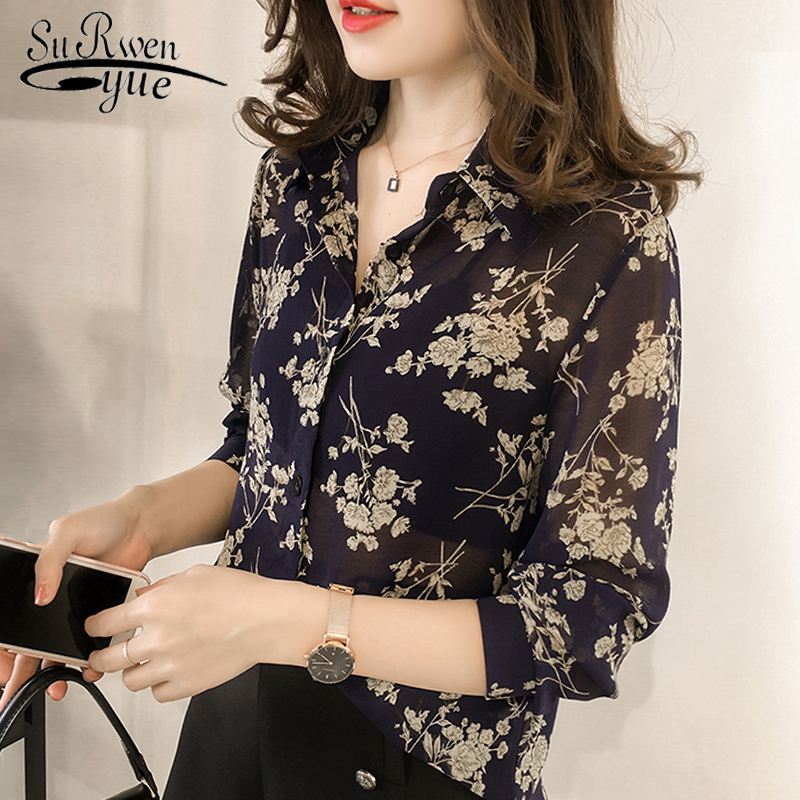 Fashion Woman   Blouses   2019 Long Sleeve Print Chiffon   Blouse     Shirt   Plus Size 3XL 4XL OL   Blouse   Women Blusa Feminina   Shirt   1058 40