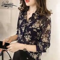 Moda mulher blusas 2019 manga comprida impressão chiffon blusa camisa plus size 3xl 4xl ol blusa feminina camisa feminina 1058 40