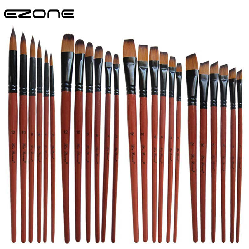EZONE 6PCS Paint Brush For Watercolor Oil Painting Flat/Round/Slant Hook Line Brushes For Gouache Dcrylic Drawting Art Supply