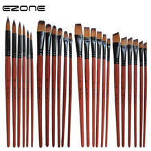 EZONE 6PCS Paint Brush For Watercolor Oil Painting Flat/Round/Slant Hook Line Brushes Gouache Dcrylic Drawting Art Supply