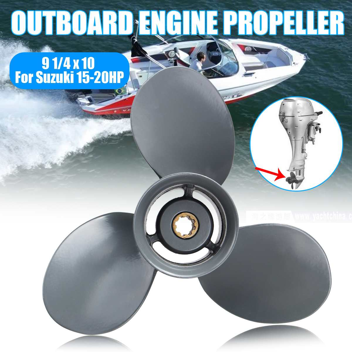 Marine Boat Engine Propeller 9 1/4 x 10 Outboard Engine Propeller For Honda 15-20HPMarine Boat Engine Propeller 9 1/4 x 10 Outboard Engine Propeller For Honda 15-20HP