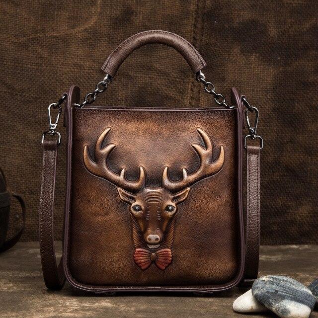 Women Genuine Leather Shoulder Messenger Bags Retro Deer Pattern Vintage Tote Handbag Crossbody Flap Real Cowhide Top Handle Bag