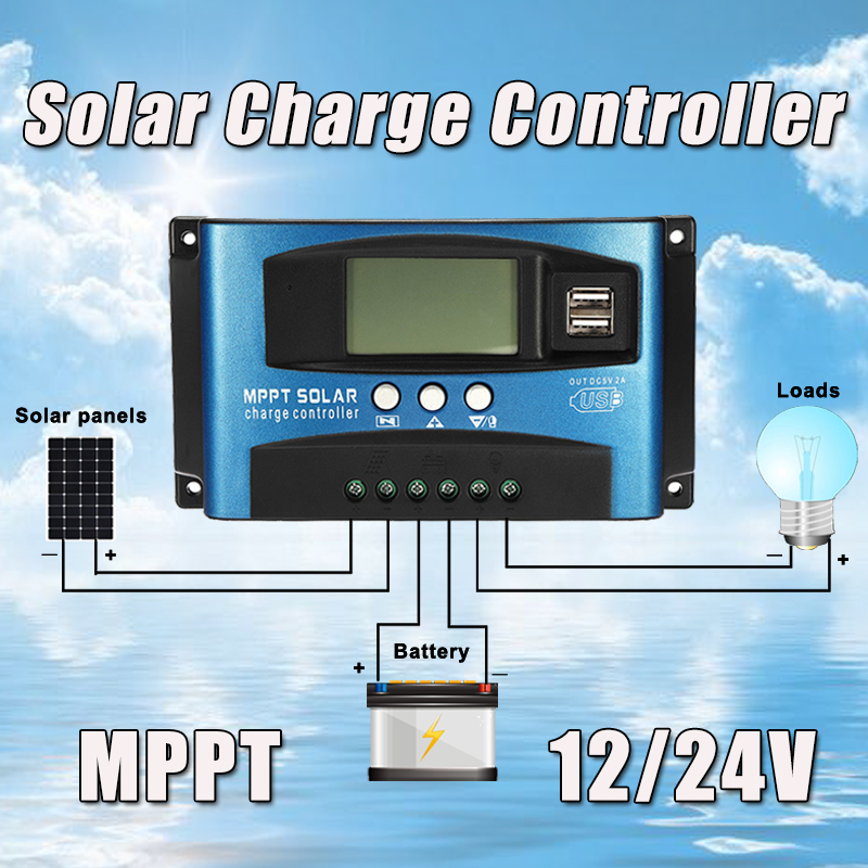 Image 5 - MPPT 30/40/50/60/100A Solar Charge Controller Dual USB LCD Display 12V 24V Auto Solar Cell Panel Charger Regulator with Load-in Solar Controllers from Home Improvement