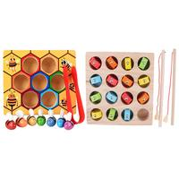 2 Set Montessori Wooden Toys Bee Clip Fishing Game Hand eye Coordination Sensory Development Educational Toys for Children