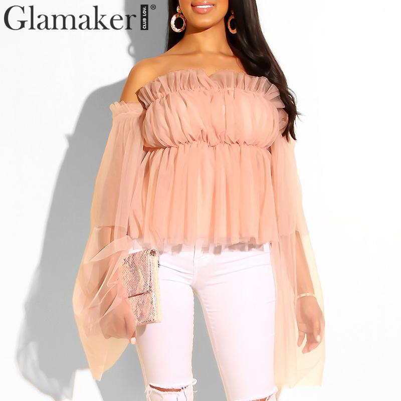 Glamaker Ruffles mesh slash neck sexy   blouse     shirt   Women off shoulder casual streetwear flare sleeve   blouse   elegant top ladies