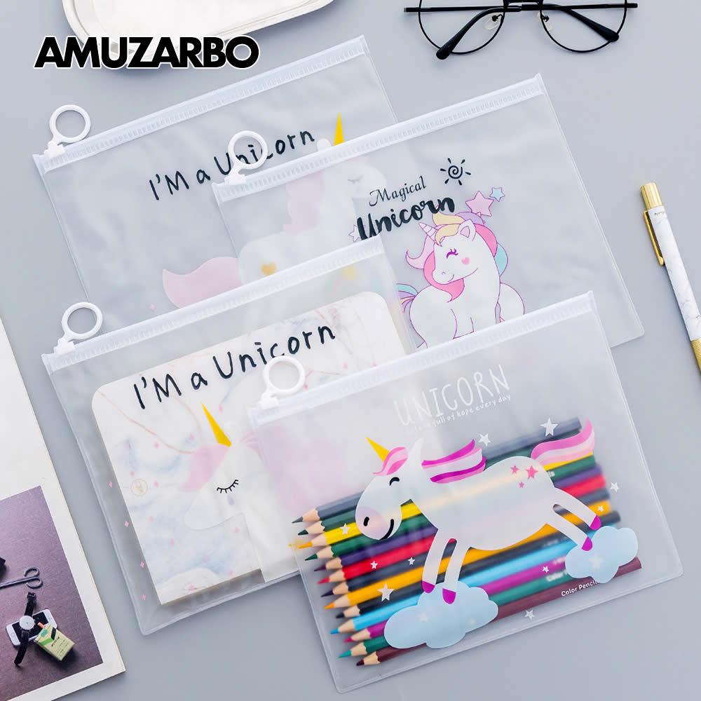 Cartoon Unicorn Pencil Bag Pink Transparent PVC Document Bag File Folder Stationery Organizer Fresh For Teenage girl