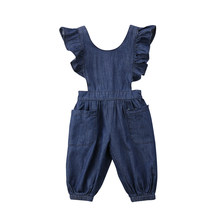 Peuter Baby Meisjes Ruffle Overalls Kids Summer Demin Effen Kleur Jumpsuit Kinderen Causale Kleding Outfits(China)
