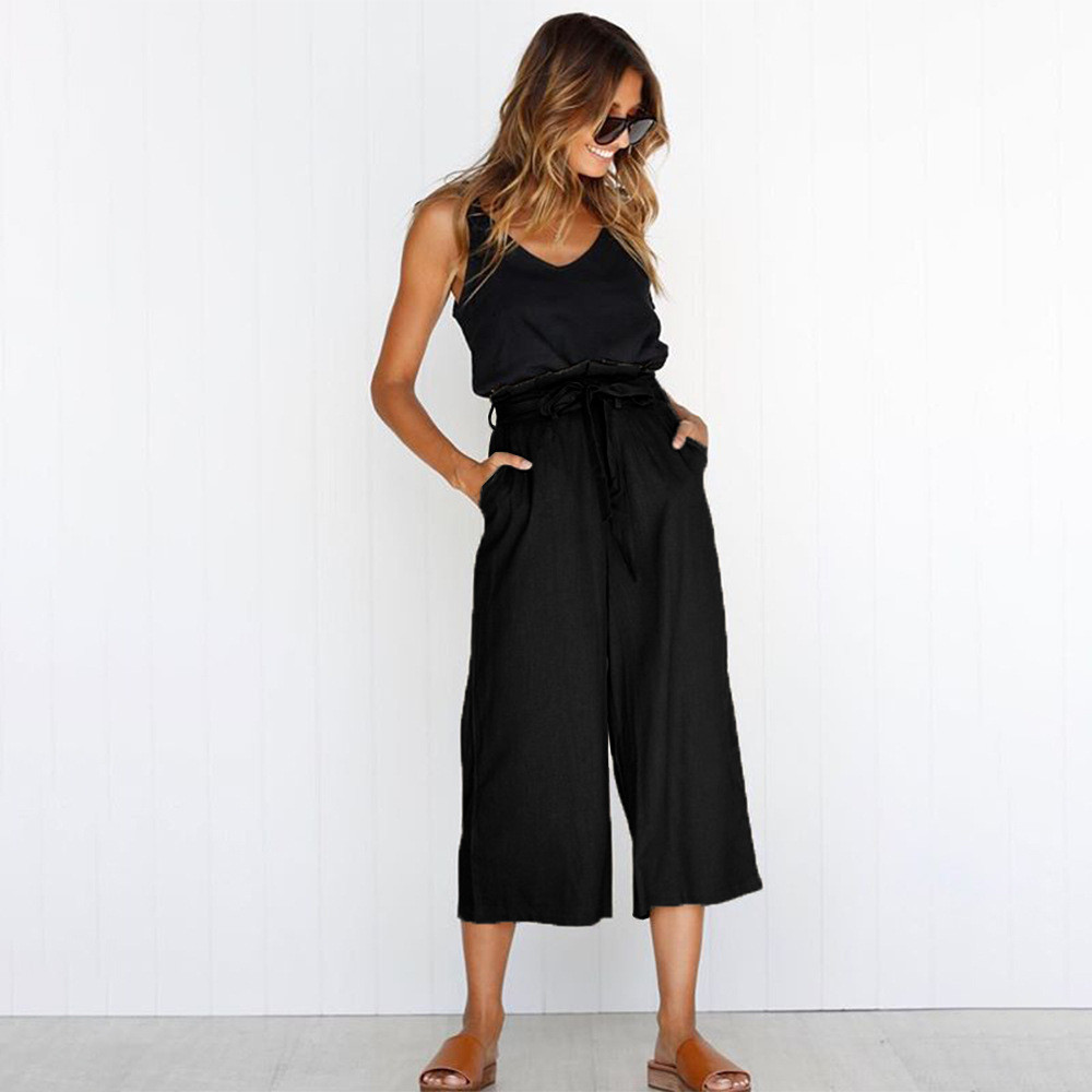 Solid Four-Color Straps Sashes Wide Leg Pants Spring Summer Casual High Waist Trousers