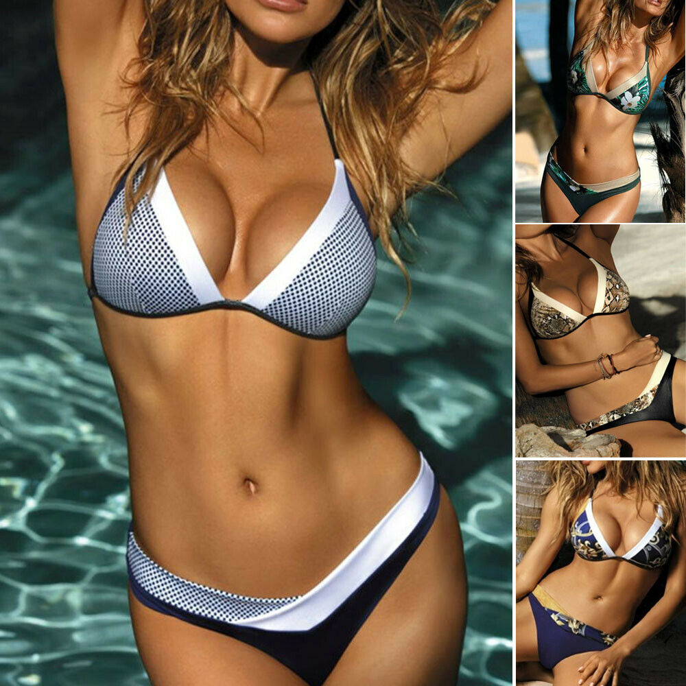 Women/'s Girl Beach Swimsuit Swimwear Bathing Monokini Push Up Padded Bikini Set