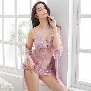 Image 5 - Novo padrão 3 pçs oco sexy mulher robe conjunto nightdresss + cardigan + g string moda pijamas