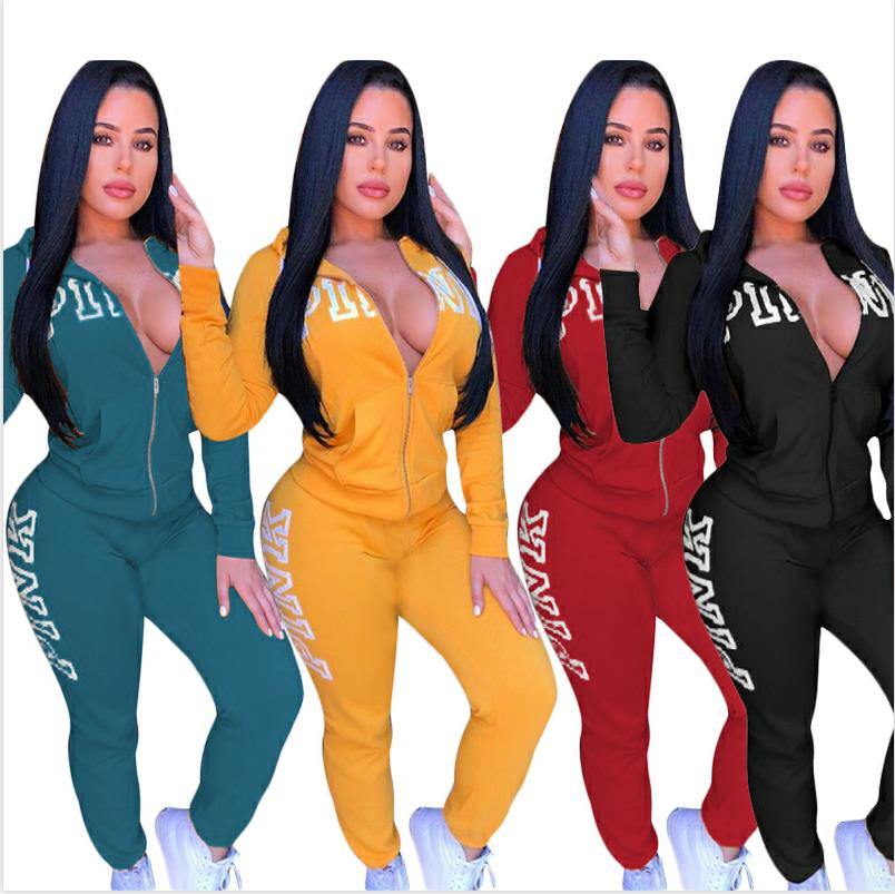 2018 Spring Letter Pink Print Tracksuit Women Casual Outfits Two Piece Set Pants Suits Plus Size Clothing Sets