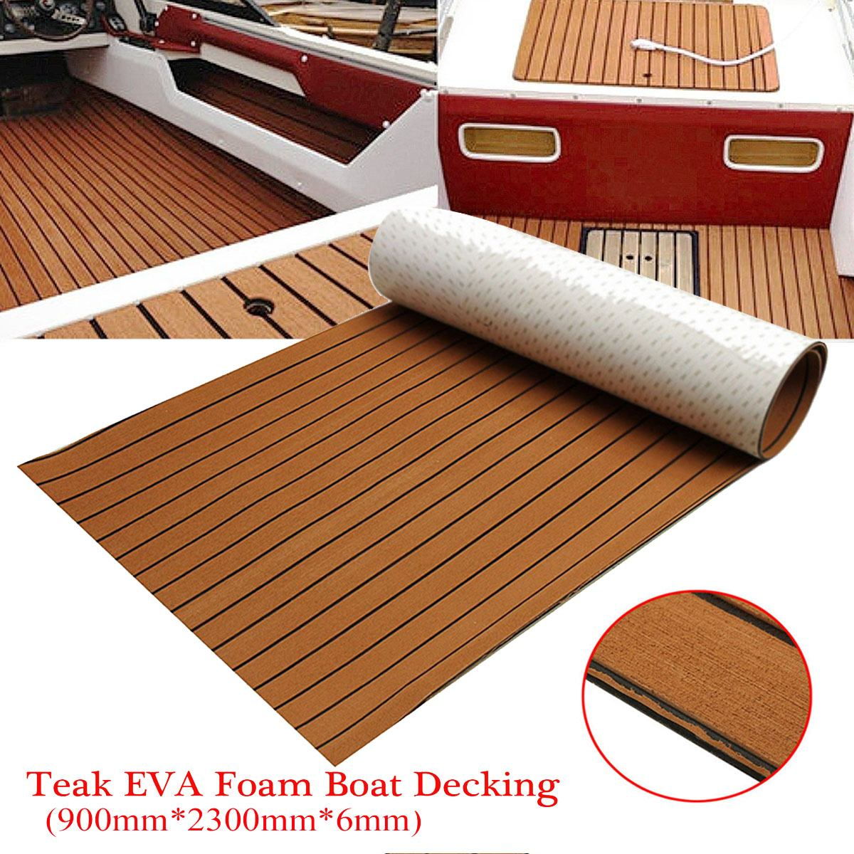 Self-Adhesive 900x2300x6mm EVA Foam Teak Brown With Black Line Faux Teak Boat Decking Sheet