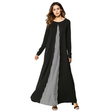 Muslim Long Sleeve Round Neck Dress Women Striped Splice Patchwork Design Long Dress Casual Slim Fit A Line Dress stylish round neck long sleeve voile spliced a line women s dress