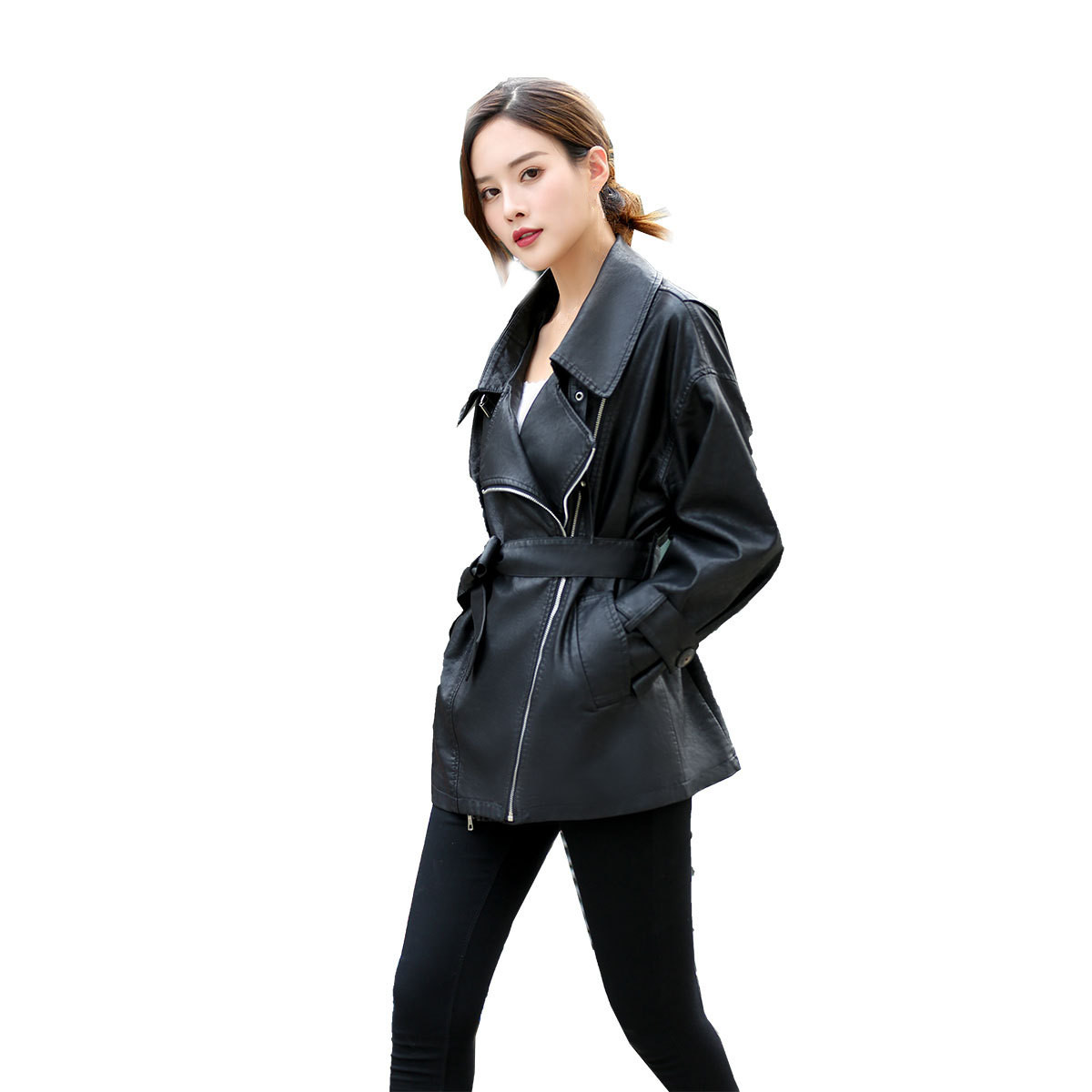 2018 New Autumn Long PU   Leather   Coat Women Fashion Zipper Sashes Loose Coats Female Elegant Black   Leather   Jacket