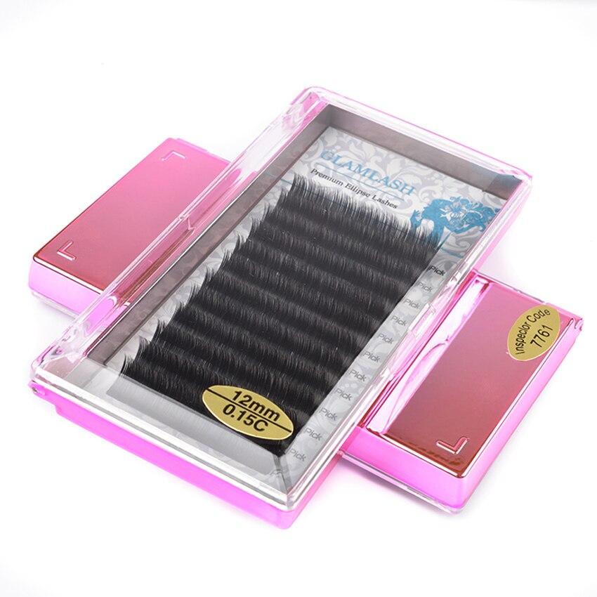 GLAMLASH Split Tips Flat Ellipse Eyelash Extension Individual Super Soft Mink Silk Fake Lashes Makeup Cilios in False Eyelashes from Beauty Health
