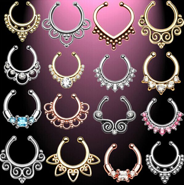 Top quality fake nose ring New Arrival Crystal Nose Ring Fake Septum Piercing Hanger Clip On Body Jewelry Nose Hoop 18 colour