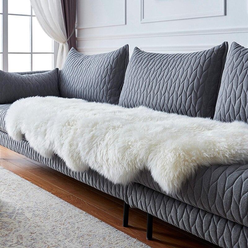 AOZUN véritable tapis en peau de mouton Premium Shaggy peau d'agneau couverture pour la décoration de la maison ECO tapis enfants chambre tapis moelleux pour salon