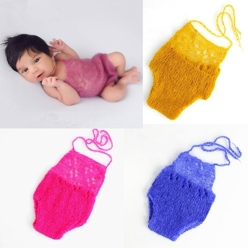 Newborn Baby Photography Props Accessories Mohair Romper Crochet Baby Costume Infant Photo Props Knitted Baby Girl Outfits