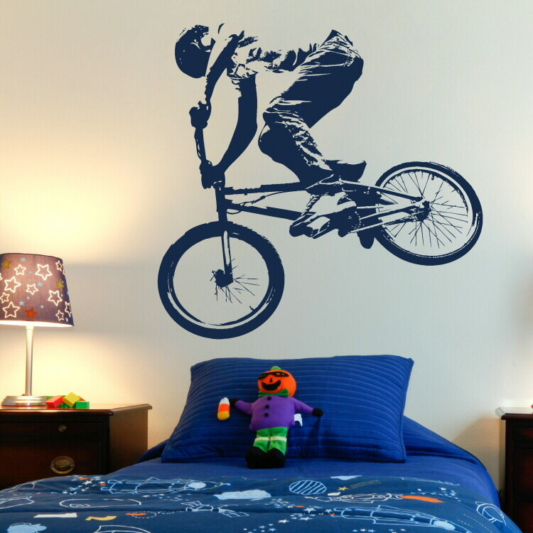 BMX PUSH BIKE pushbike boys bedroom Wall art Stickers kids children decals free shipping in Wall Stickers from Home Garden