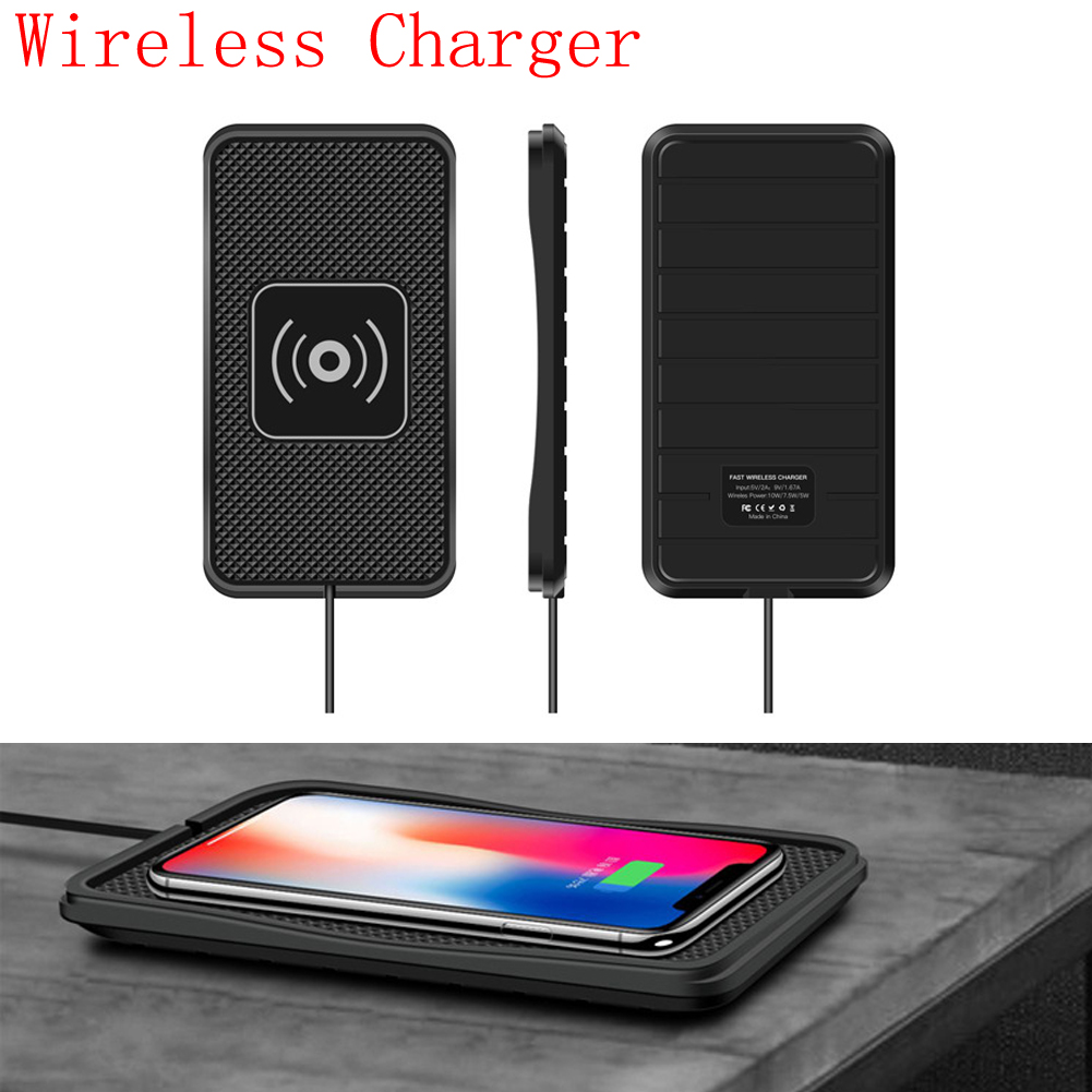 US $11.92 25% OFF|Wireless Phone Charger Holder Mount Car Dashboard Qi Non Slip Pad Mat Silicone Wireless Car Charger for Samsung iPhone