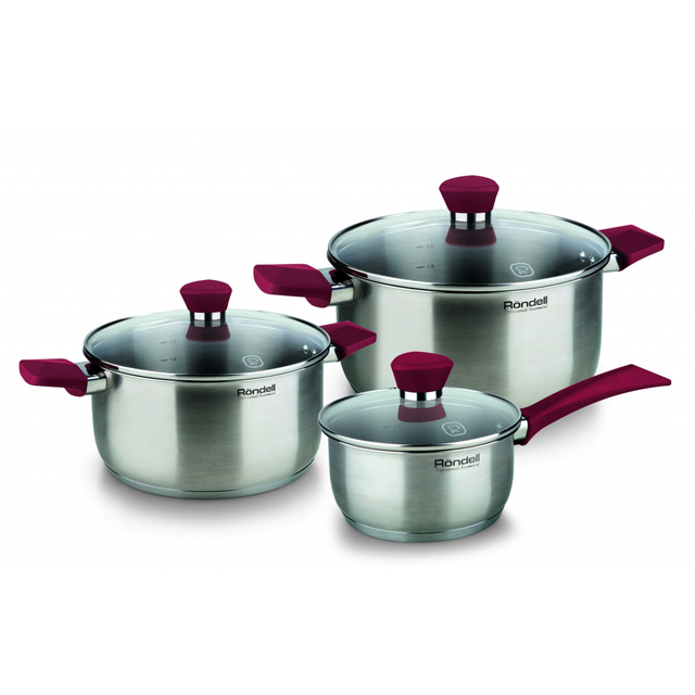 Набор посуды RONDELL RDS-817 (6 предметов (кастрюли 18, 20, ковш 14 и 3 крышки.) нержавеющая сталь)