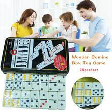Wholesale White Color Dot Dominoes Set Simple Iron Boxed Fun Domino Toy Casual Game Card for Home Family Traveling(China)