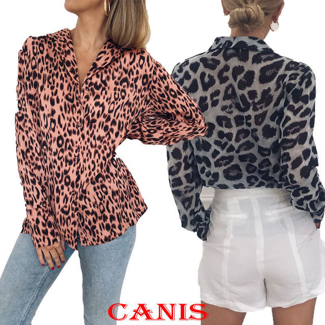 c389cf324c 2019 Women Clothes Long Sleeve Women Leopard print Top Lady Loose V Neck  Long Sleeve Chiffon Shirt