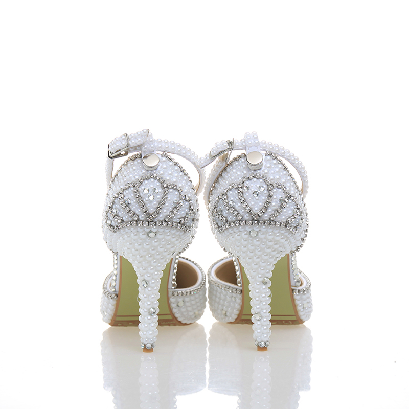 Mariée Handmake 10cm Pouces Bout Hauts Bal Pointu Chaussures white De Pointed Partie 2018 Date Blanc Heels Délicates Banquet 4 Mariage Talons Strass Perle 8cm White 5RxvYw0