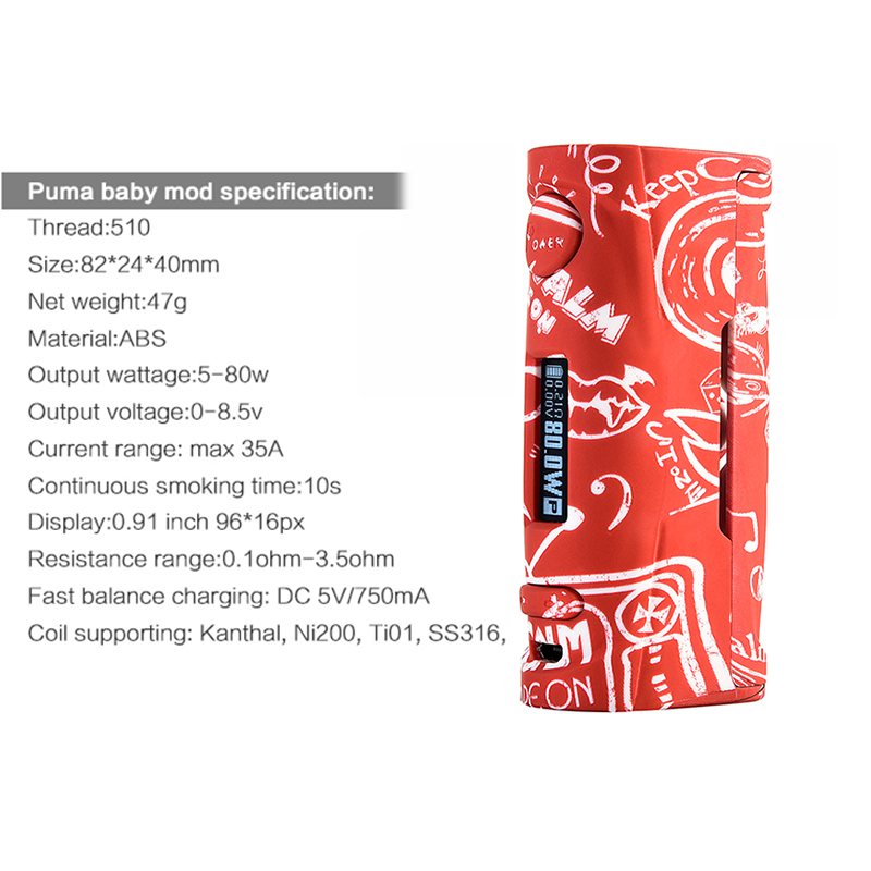 Vapor Storm Puma Baby 80w Vape Mod E Cigarette OLED Screen Graffiti Without 18650 Battery TC Box Mod for Hawk Lion RDA Atomizer