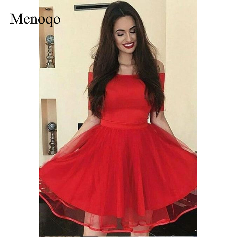 Menoqo Off the shoulder Red   Cocktail     Dresses   with Short Sleeves Ribbon Tulle Skirt