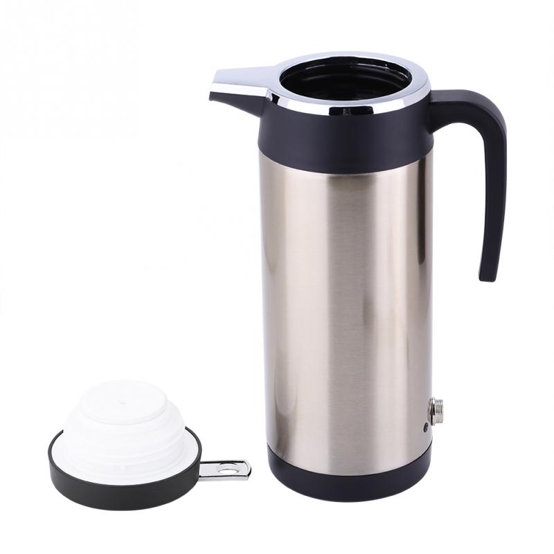 Tiamu 1000ML Car Hot Kettle Portable Water Heater Travel Auto for Tea Coffee 304 Stainless Steel Large Capacity Vehicle 12V