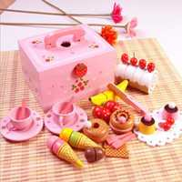1 Set Pretend Play Wood Kitchen Toys For Girls Wooden Play Toys Kids Kitchen Toys Happy Birthday Cake Group Gifts for Children