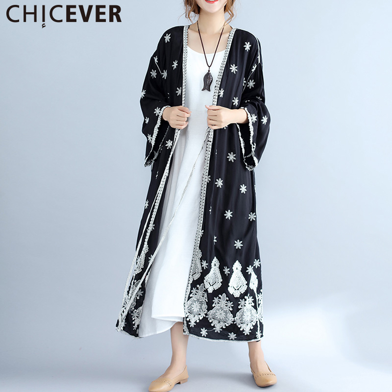 CHICEVER 2019 Embroidery Floral Women's Windbreaker   Trench   Coat Female Autumn Loose Big Size Vintage Cardigan Long Coats Casual
